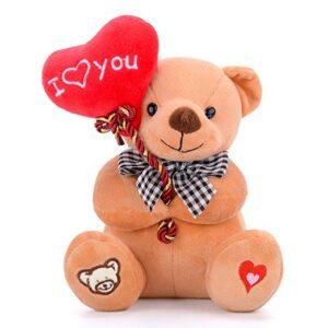 Gloveleya - Oso de peluche con corazón y texto I Love You (6.0 in), color marrón
