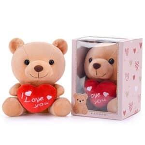 Gloveleya - Oso de peluche con corazón y texto I Love You (6.0 in), color marrón, 6 pulgadas