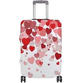 maleta de corazones rojos