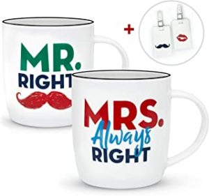 tazas de parejas Mr Right y Mrs Always Right