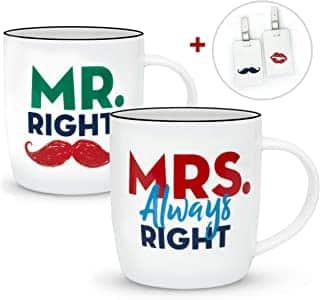 tazas de parejas Mr Right y Mrs Always Right