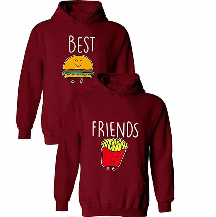 sudaderas para mejores amigos de patatas y hamburguesa