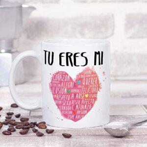 taza corazones bella